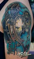 Freitas steampunk clock tattoo by Todo