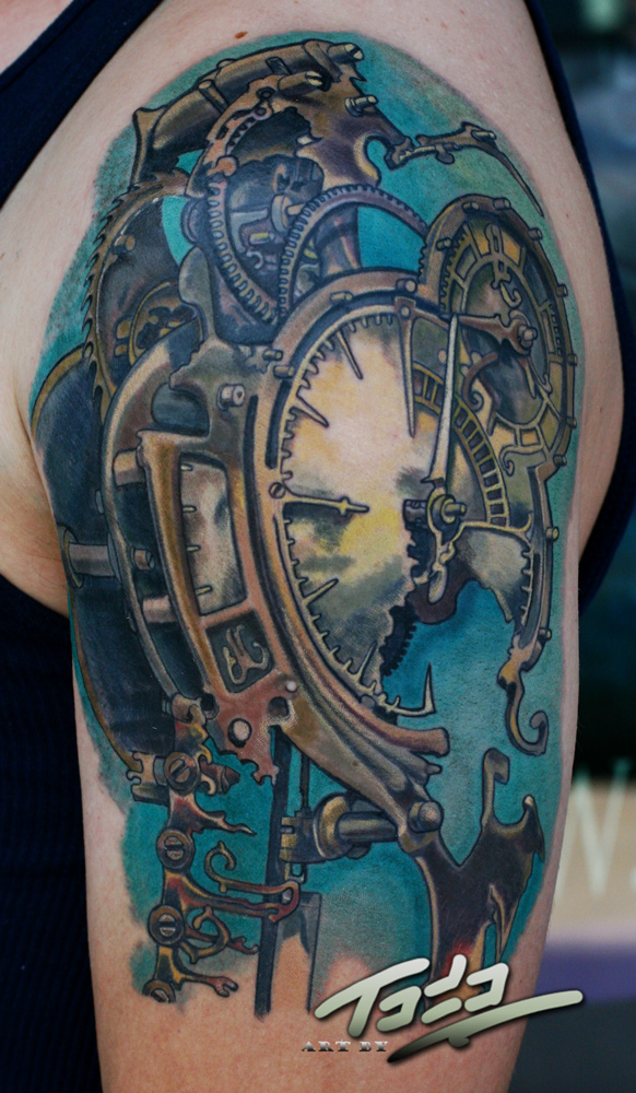 Freitas steampunk clock tattoo by Todo by TodoArtist