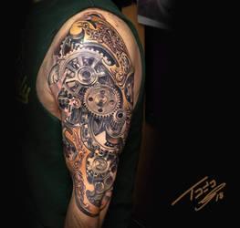 steampunk gear tattoo  by TodoArtist