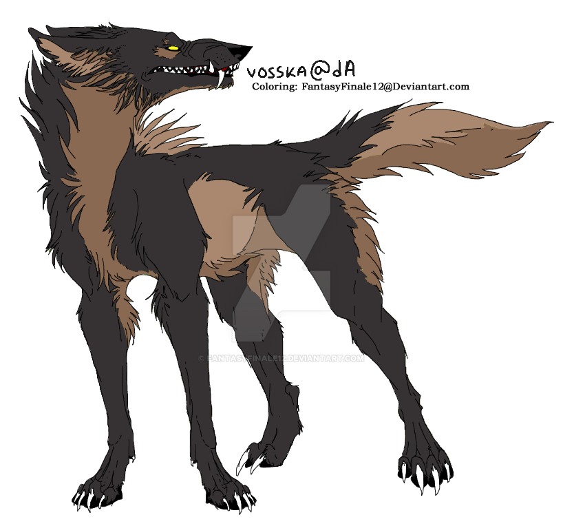 Wolf Lineart Coloring (Pepper) by FantasyFinale12