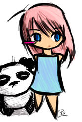 Panda and girl by nharoshl
