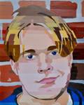 Senior year painting, self portrait, 1996