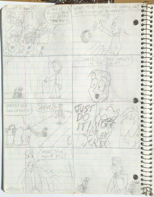 'Teenage Comedian' spiral notebook comic page 90s by artbylukeski