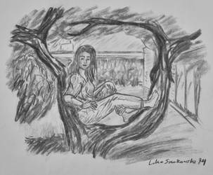 College Student In Tree, Charcoal 1994 by artbylukeski