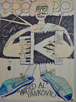 Weird Al Yankovic drawing, 6th grade, 1986