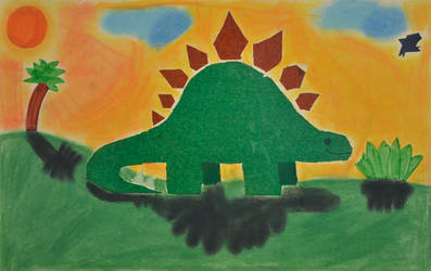 Stegosaurus, Mixed Media, 3rd Grade, 1983 by artbylukeski