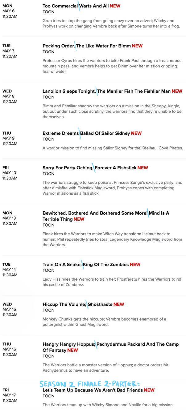 Mighty MagiSwords Season 2 Part 2 CN Schedule by artbylukeski
