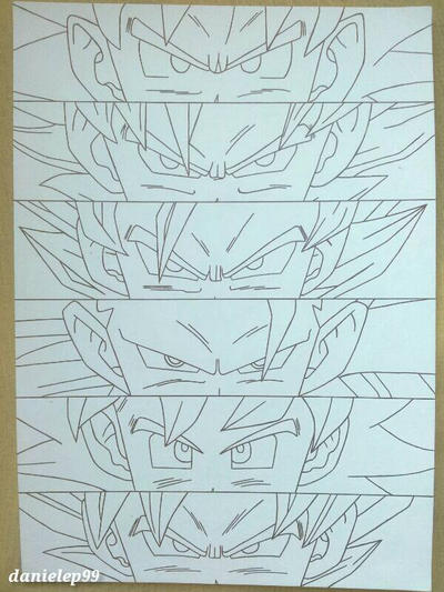 Line And Form In Art : Goku s forms line art by danielep on deviantart