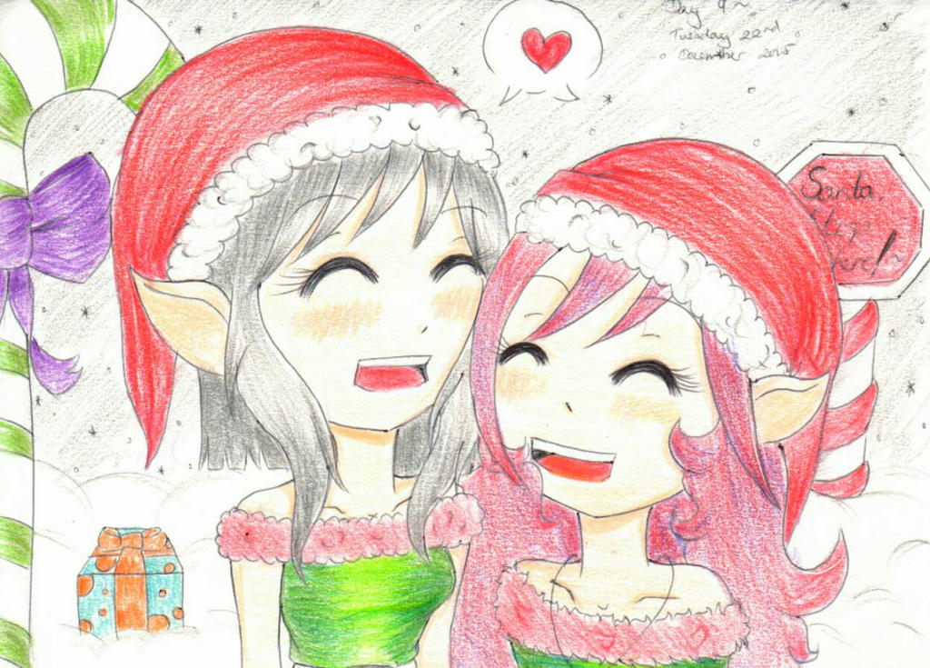 Day 9 ~ Two adorable elves by Abi-Berry