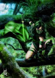 Green Ninja General For Musha Shugyo  Ninja Saga   by eventorizon