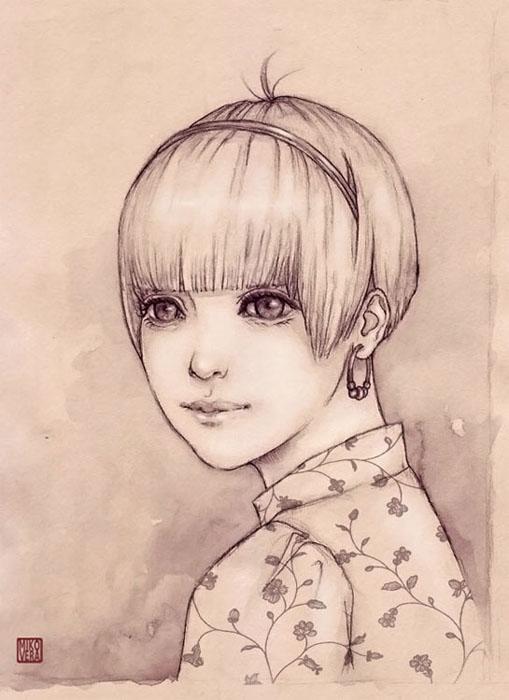 Watercolor mono by mikovera