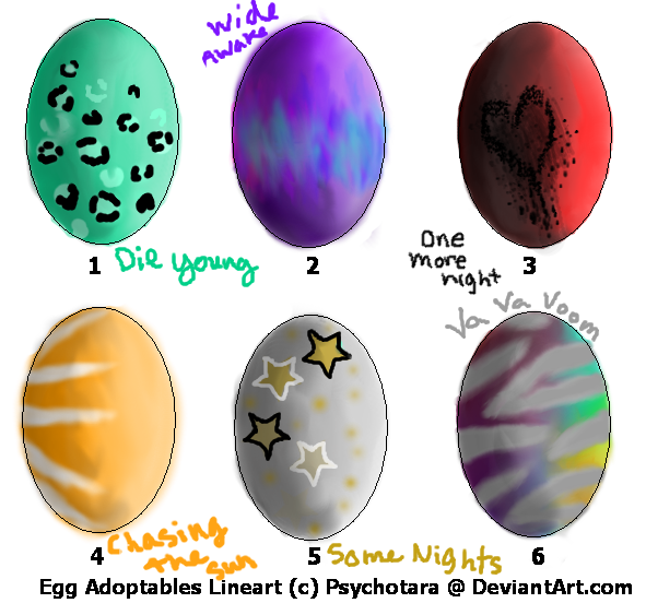 Song Based Egg Adopts -OPEN- SUPER CHEAP by Madsie-moo