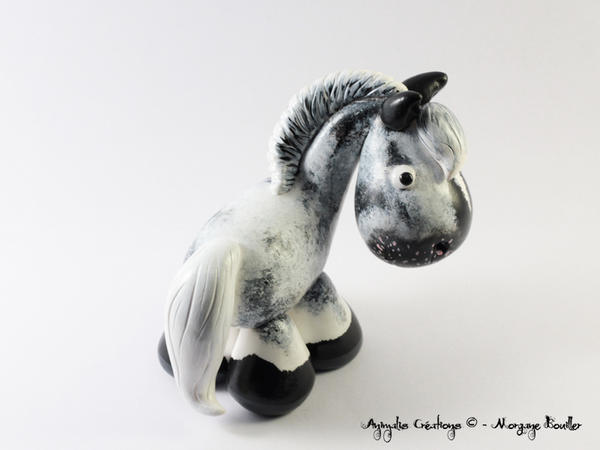 Custom horse - black varnish roan Appaloosa by AnimalisCreations