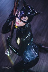Latex Catwoman Pole by KayLynnSyrin