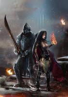 Dark knight and girl by avvart