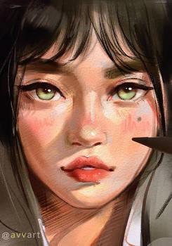 Girl green watercolor photo avvart1