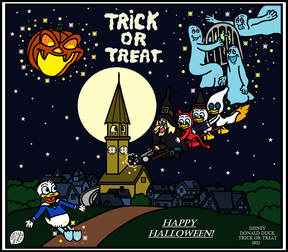 happy halloween trick or treat disney by spritegirl