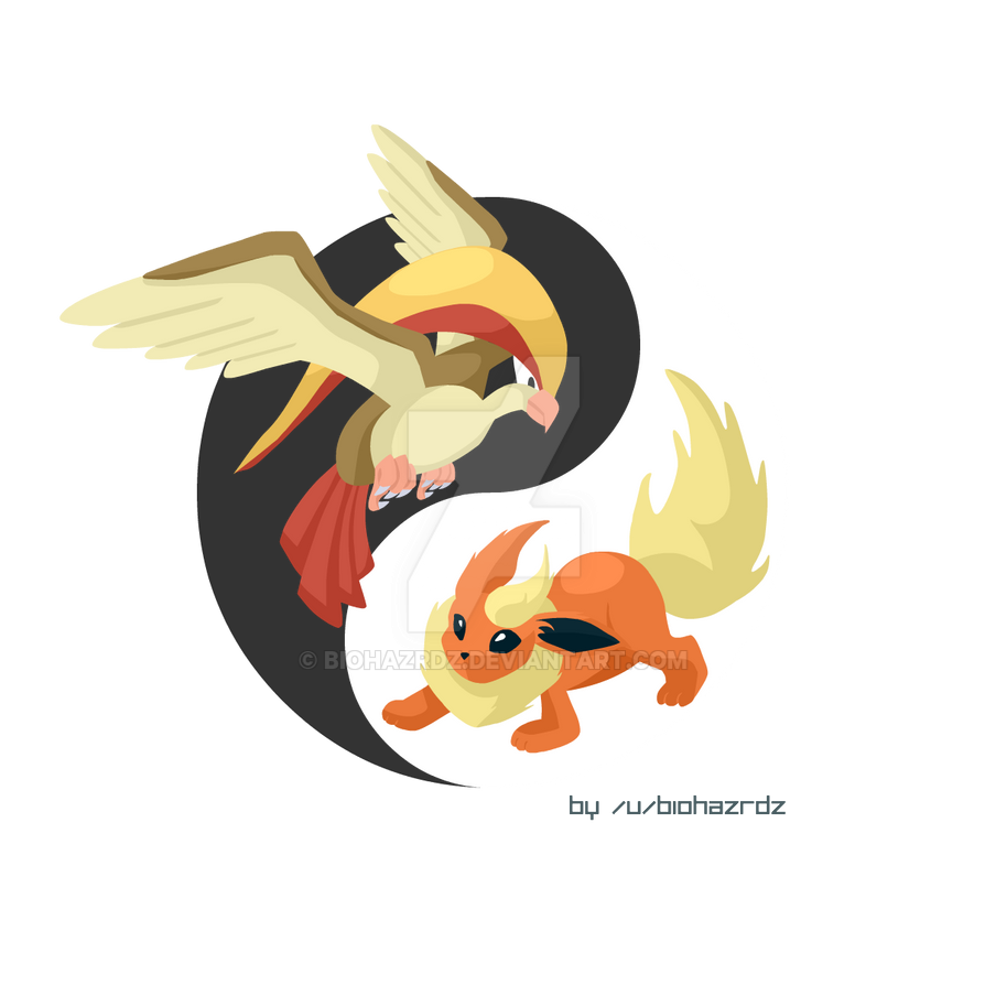 Pidgeot/Flareon Yin Yang by biohazrdz