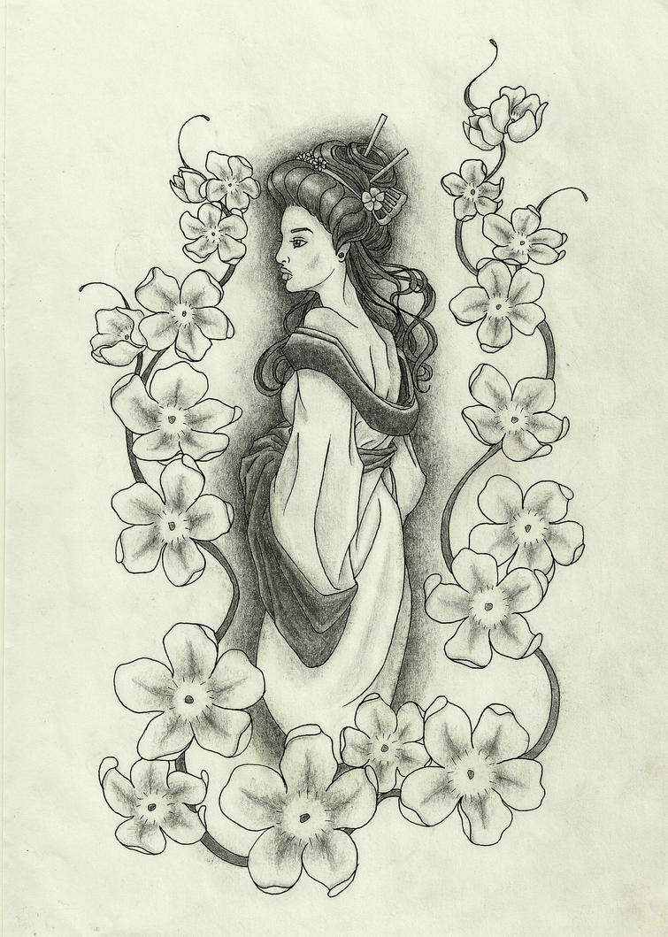 Tattoo design geisha with almond flowers by Delineanteartistico on ...
