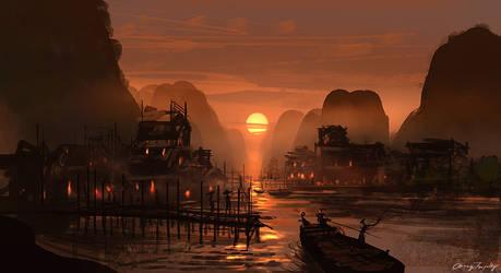 Fishing Village -Speed Painting by artofchirag