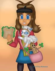 Pokemon Trainer Hilda And Twig The Alolan Deerfox