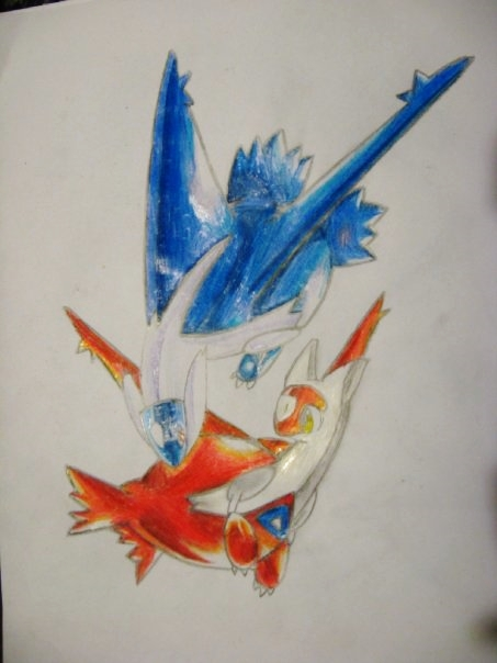 Latias and latios pencil crayon by vikkiievoltage