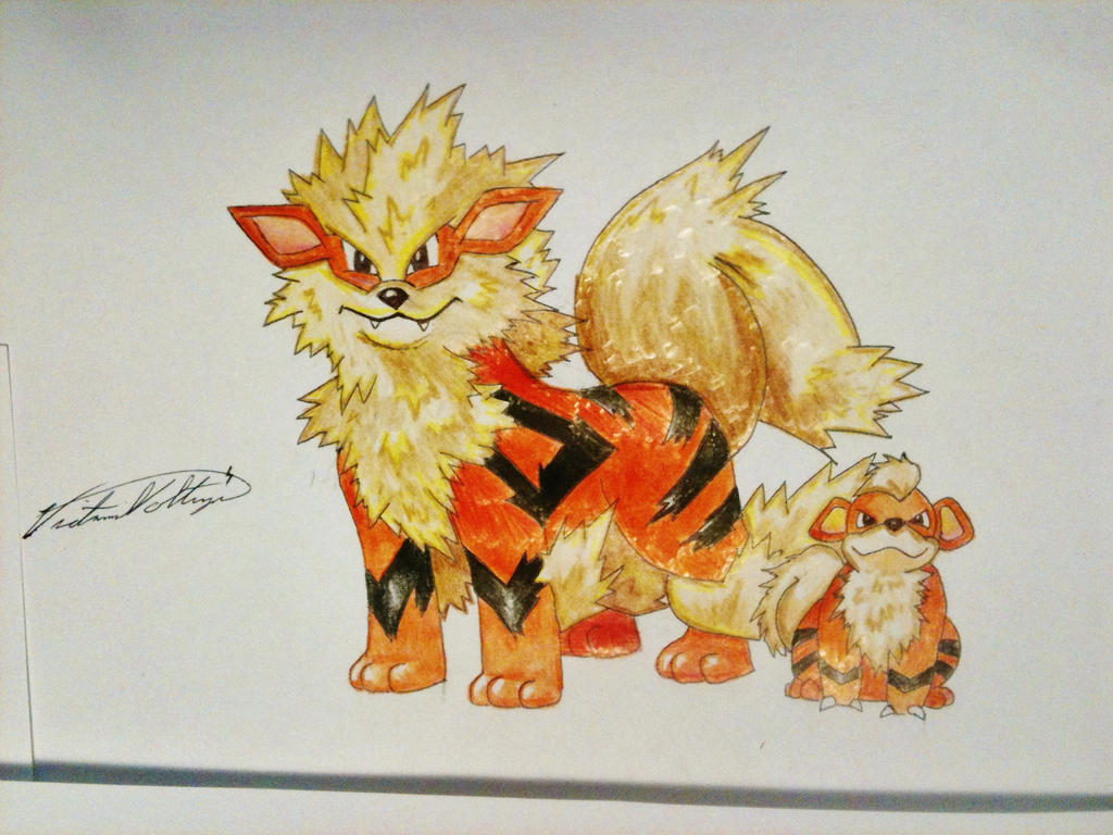 Arcanine and growlithe pencil crayon by vikkiievoltage