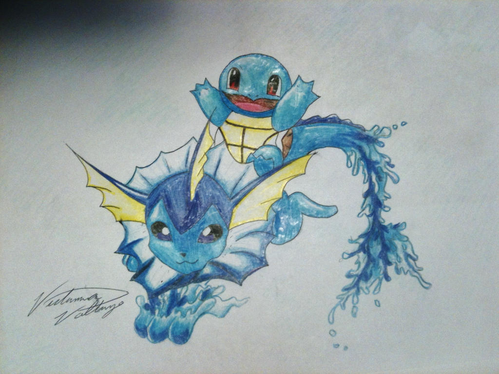 Vaporeon and squirtle pencil crayon by vikkiievoltage