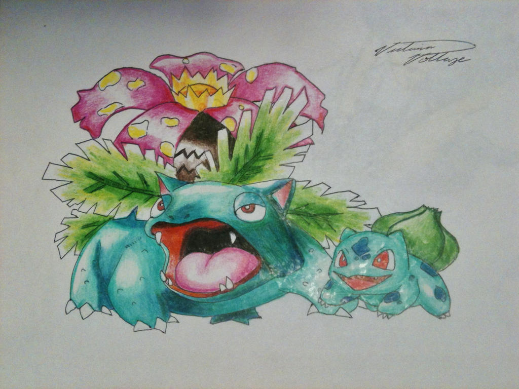 venusaur and bulbasaur pencil crayon by vikkiievoltage