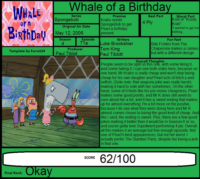 Spongebob Whale Of A Birthday Tv Episode 2003 1 24 03 Flickr
