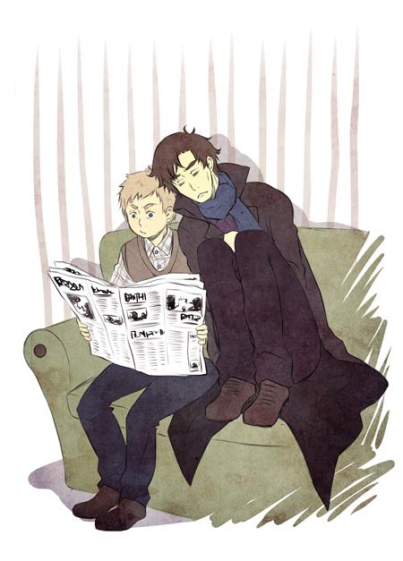 Sherlock - sitting and reading by PetitPotato