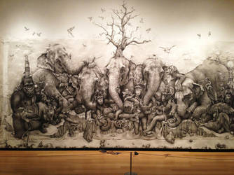 Elephants Tree Mural