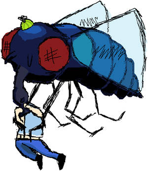 Giant fly eating a fat kid