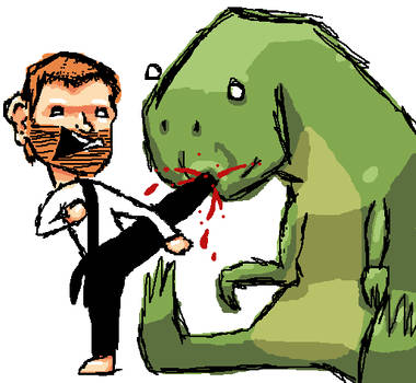 Chuch Norris owning a T-rex