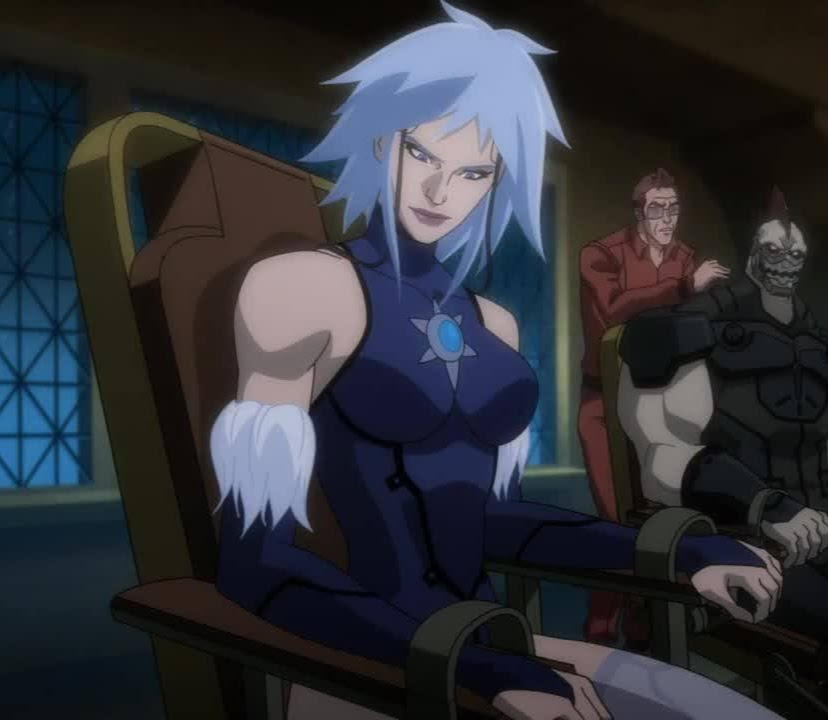 Killer Frost strapped to a chair