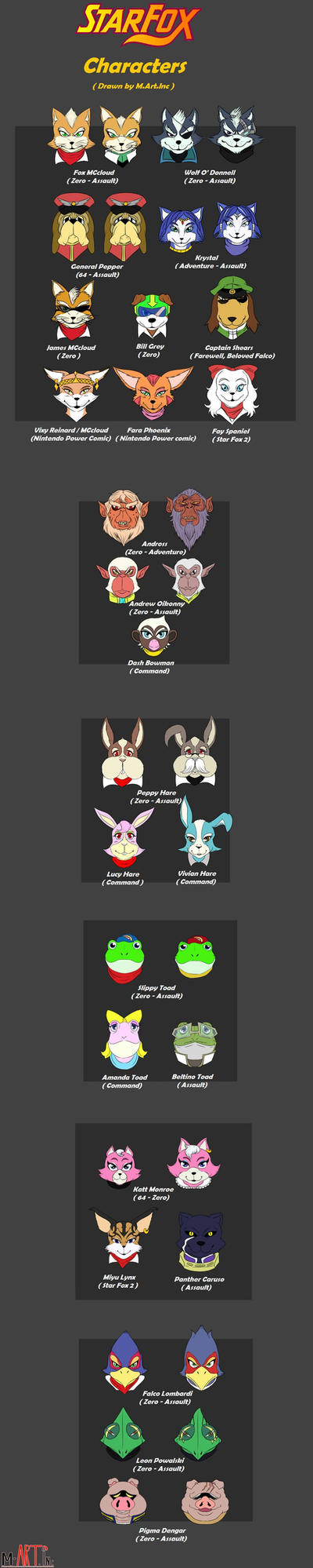 Star Fox Characters headshot by MArt1nc