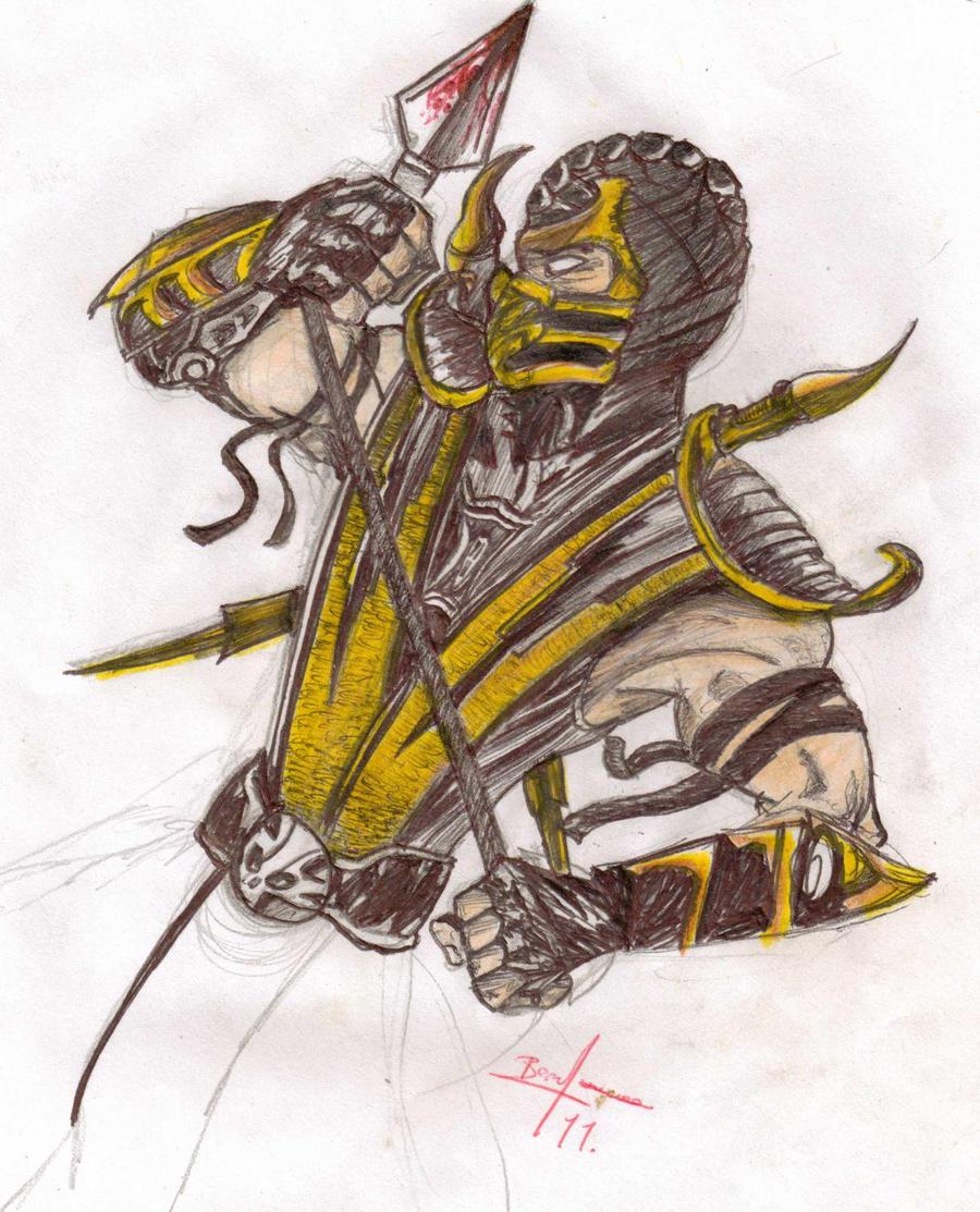 рисунок скорпиона из мортал комбат 9