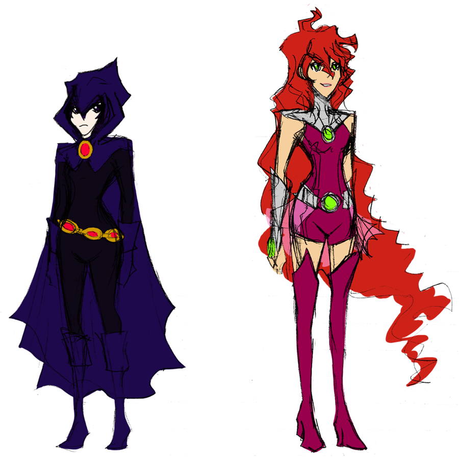 Young Justice - Raven and Starfire by Novanator