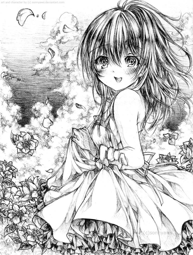 A Girl In Flower Field By Sonnyaws