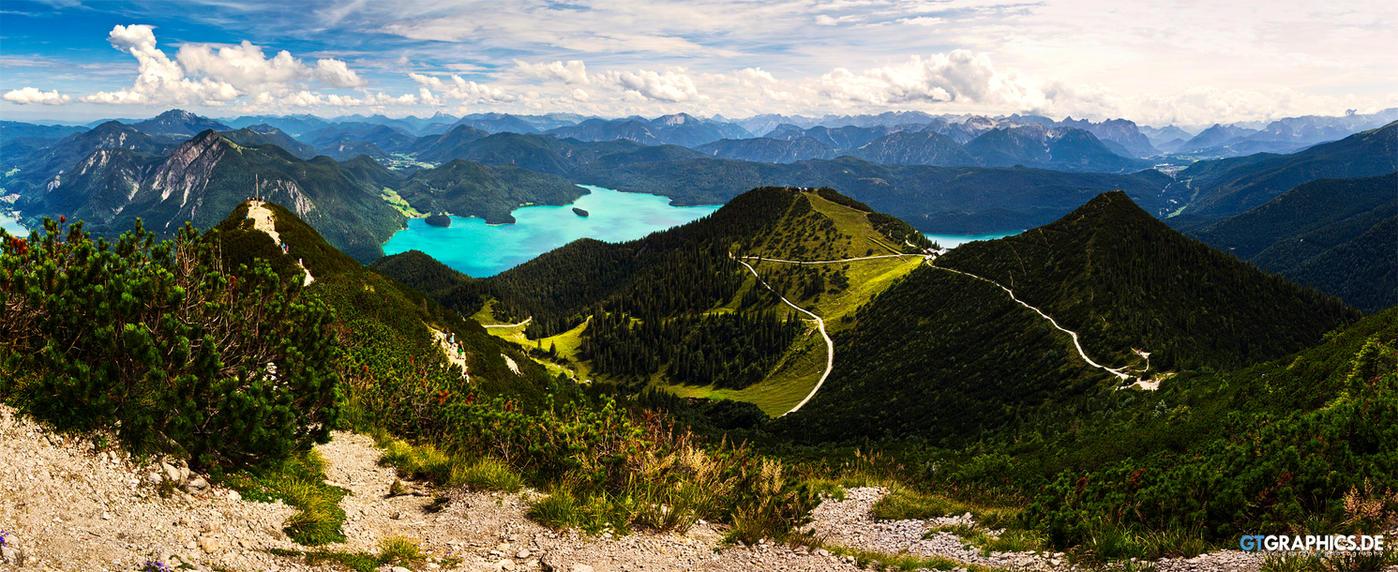 Walchensee Panorama by taenaron