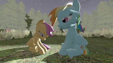 SFM Ponies Filly and Mare Sitting pose by sindrake