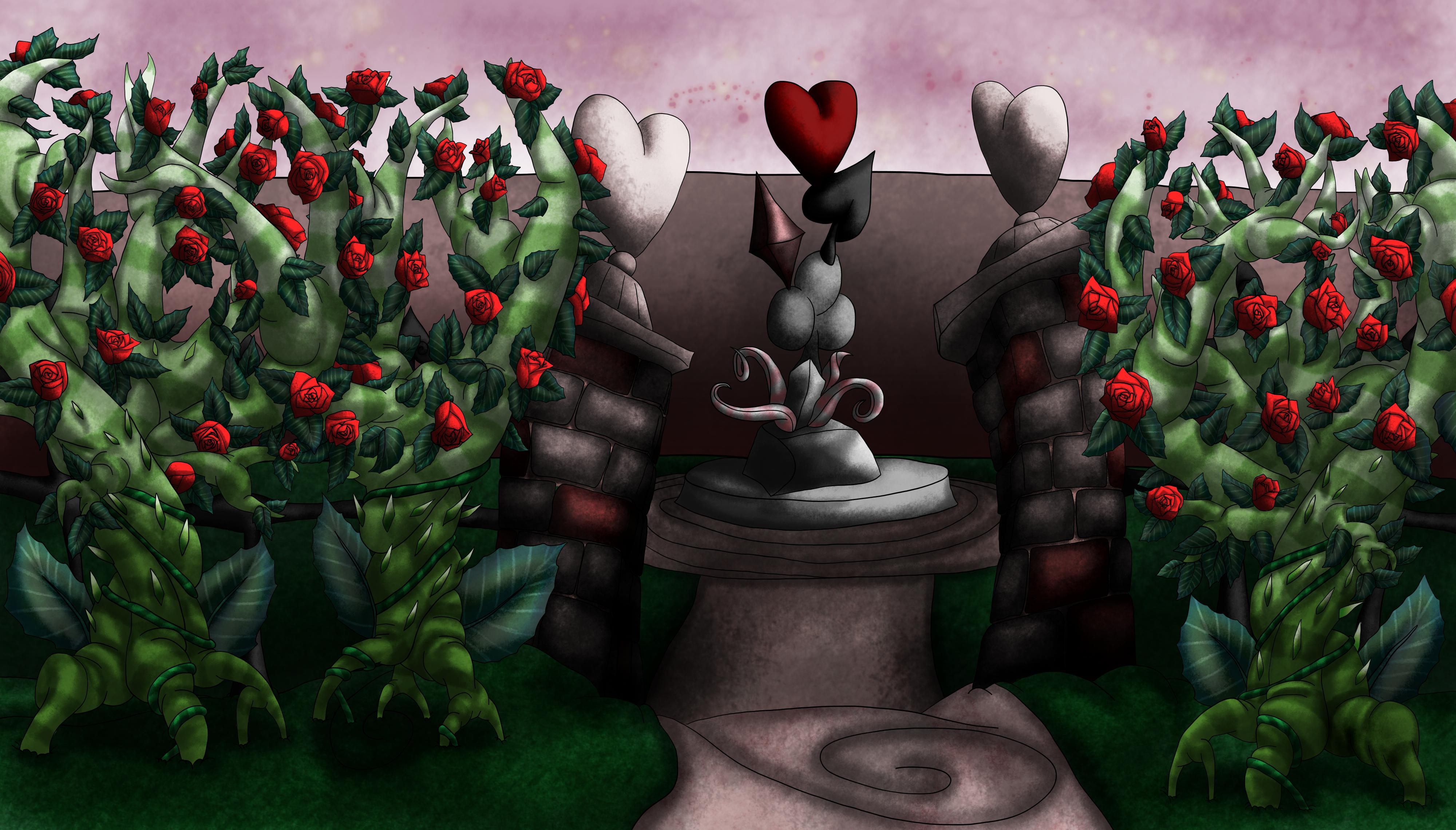 Alice in Wonderland Background Queens Garden by