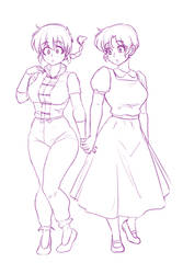 Ranma and akane holding hands Sketch