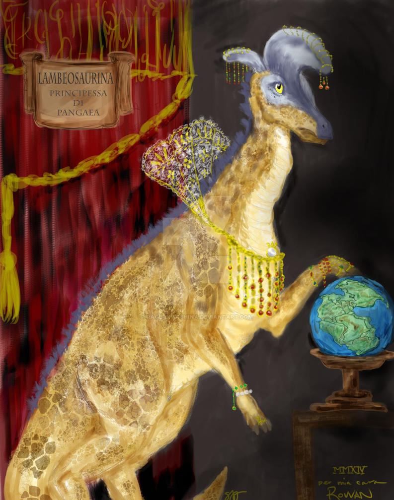Lambeosaurina, Princess of Pangaea by racerxmachina