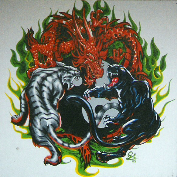 Yin Yang  Tiger-Panther-Dragon by AylaOfZeladoniiYin Yang Dragon Tiger Wallpaper