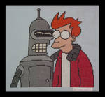 Fry and Bender - Cross stitch
