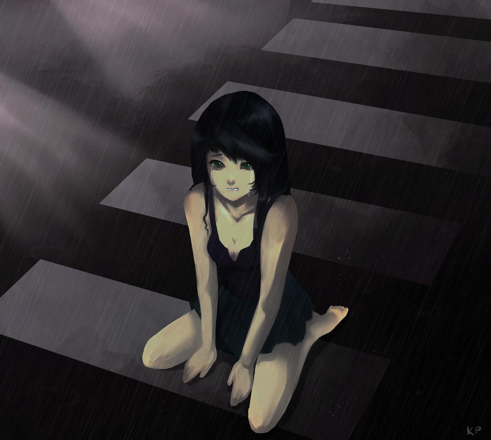 Laying Depressed Cat Girl
