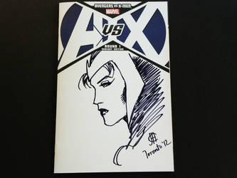 Scarlett Witch - AvXBlankCover sketch- Jim Cheung by Werkingethorex
