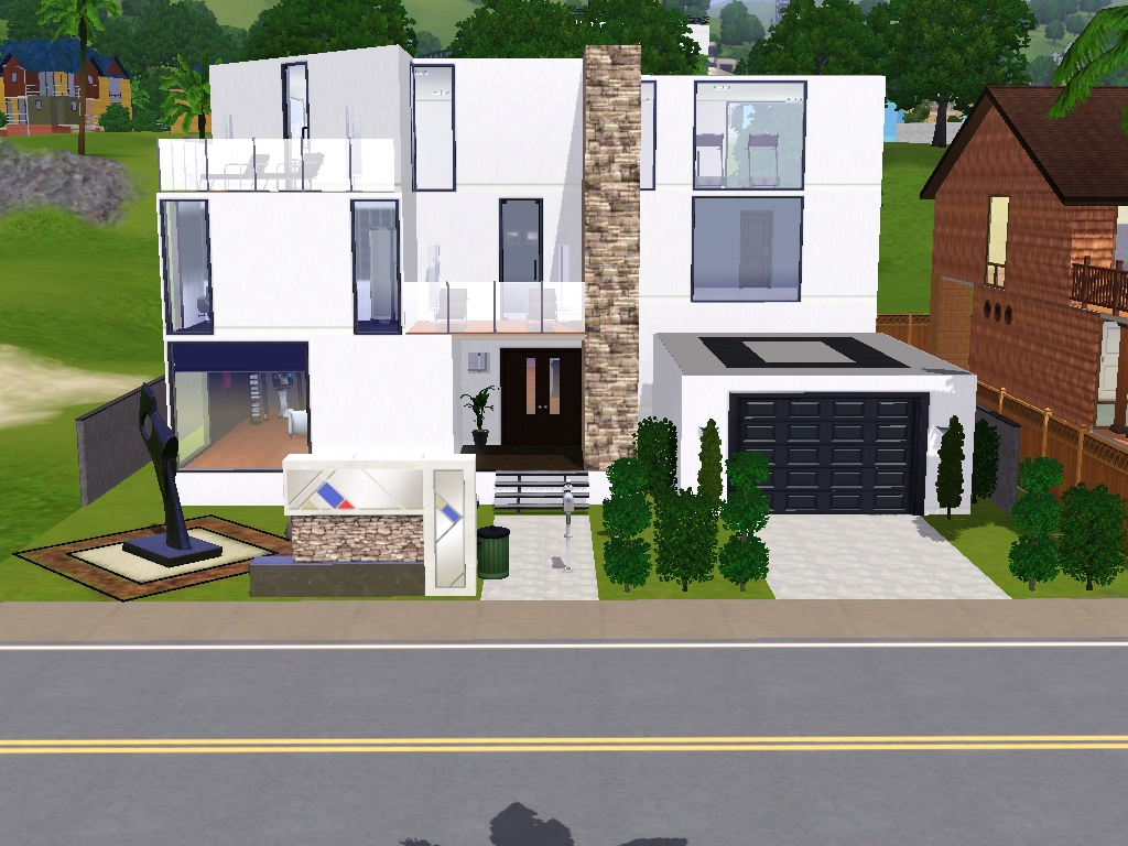 Sims 3 modern mansions the image kid for Minimalist house sims 2