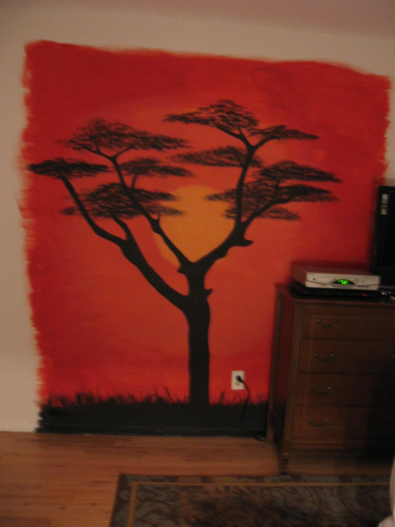 African sunset mural by chellichan on deviantart for African sunset wall mural